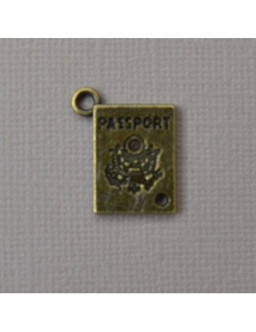 Breloque passeport bronze