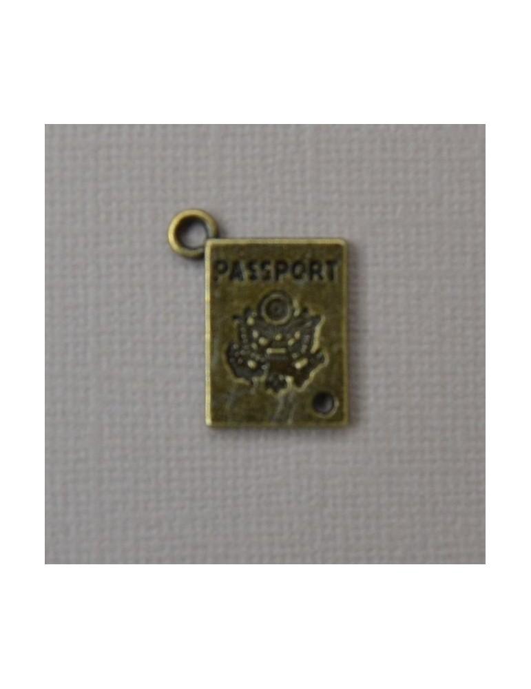 Breloque passeport bronze