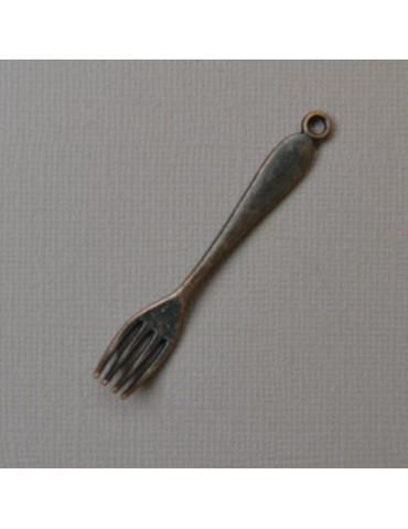 Breloque fourchette cuivre rouge