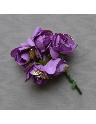 Roses violettes et paillettes or