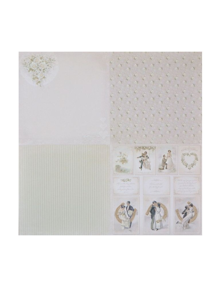 Papier Pion Design Vintage Wedding Bridal Bouquet 6x6