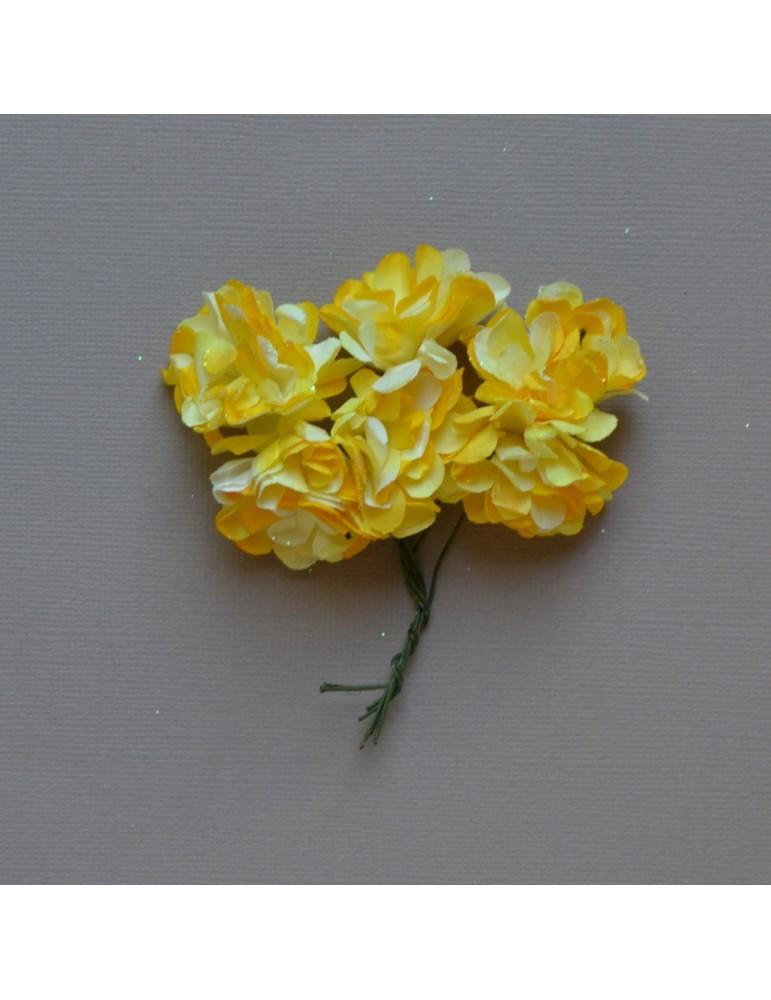 Lot fleurs jaune /blanc à pailettes