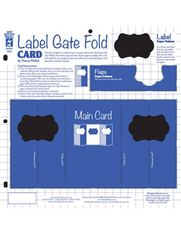 Gabarit label fold card