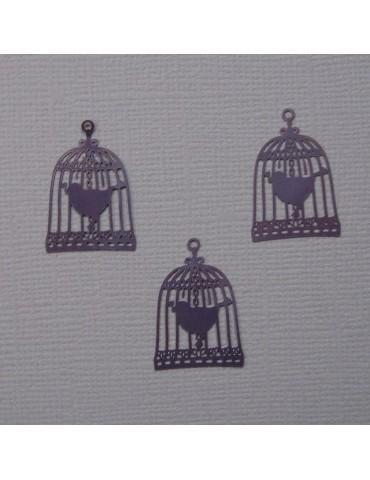 3 cages a oiseaux violet